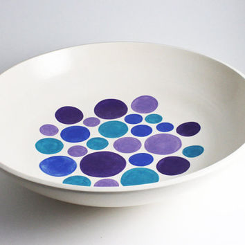 Polka Dot Bowl Purple Lavender Blue and by LLTownleyCeramic