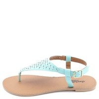 Flat Laser-Cut Thong Sandals by Charlotte Russe - Mint