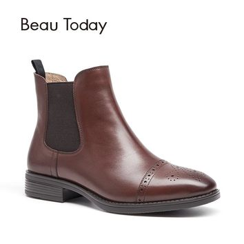 BeauToday Chelsea Boots Woman Top Quality Brand Boot Half Brogue Genuine Calf Leather Ankle Length Elastic Shoes Handmade 03040