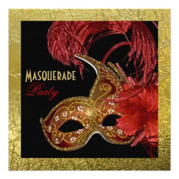 Masquerade Sweet Sixteen party red, faux gold foil 5.25x5.25 Square Paper Invitation Card
