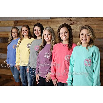 Comfort Colors Long Sleeve Monogrammed Pocket Tee Shirt