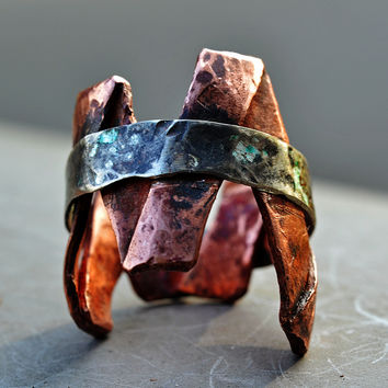 Mixed Metal Silver Copper Jagged Edge Ring, Freeform Double Band Ring, Unisex, 'Peaks & Valleys' Ring, Rustic, Tribal
