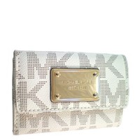 Michael Kors Flap Coin Purse MK PVC Vanilla