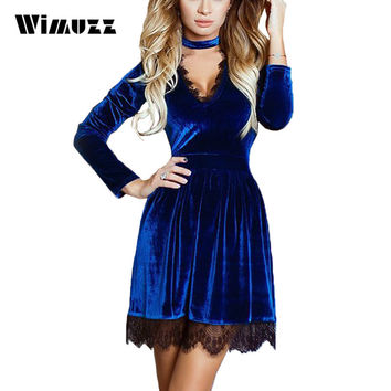 Wimuzz Elegant Velvet Lace Dress Women Long Sleeve Autumn Sexy V Neck Party Dresses 2017 Velour Black Dress
