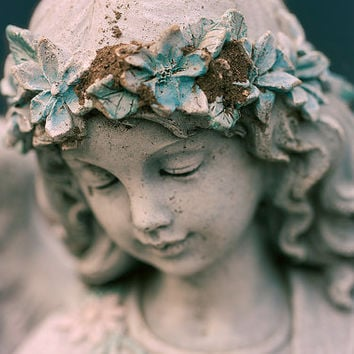 Angel Photograph - Religious, Catholic Wall Art, Fine Art Photography, Blue Home Decor, Girl, Cherub, Flower Halo, Statue