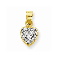 10k Yellow Gold C.Z Cluster Heart Pendant
