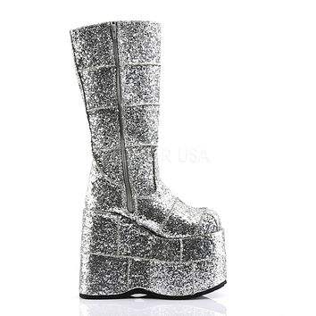 Silver Glitter Space Platform Boots