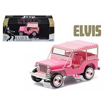 "1960 Jeep Surrey CJ3B \Pink Jeep"" Elvis Presley (1935 1977) 1/43 Diecast Model Car-by Greenlight"""