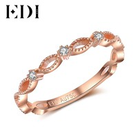 EDI Ring Romantic Love 18K Rose Gold Anniversary Bands Real Natural Diamond Ring For Women Female Genuine Fine Jewelry Gifts