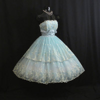Vintage 1950's 50s Bombshell Blue Ivory Floral Flocked Chiffon Organza Party Prom Wedding Bridal Dress Gown