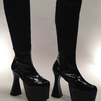 Early 1990'S Vintage Size 10B LUICHINY // Black Patent Leather // Fur Plush Uppers // Spool Heel // Platform Boots DEAD/STOCK