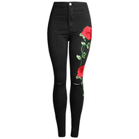 3D Rose Flower Embroidery Jeans