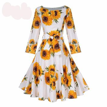 1950s Vintage Dresses Women Autumn Sun Floral Print Bow Sashes Dress Knee Length Elegant Vintage Female Dresses