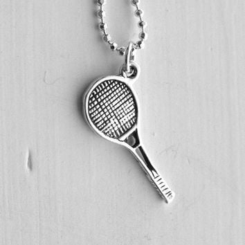 Tennis Necklace, Tennis Jewelry, Tennis Racket Necklace, Tennis Racket Charm, Charm Necklace, Sterling Silver Jewelry, Tennis Pendant, .925