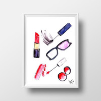 Makeup printable watercolor painting pink lipstick decor fashion girl wall art vanity decal bathroom print fashion illustration sunglass