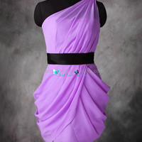 Classic One Shoulder Belt Elegant simple purple ruffled purple chiffon short prom/ evening/ cocktail/pageant/party dress for wedding