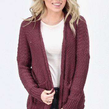 Snuggle Life Wubby Sweater Cardigan {Plum}