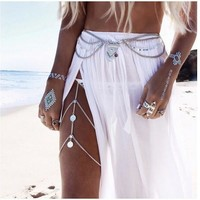 Vintage Yoga Metal Hollow Out Tassels Chain Accessory [7241158727]
