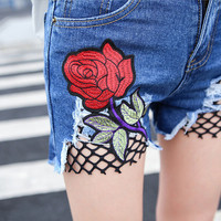 Denim Short Hot Pants Blue Flower Printed Casual Short Jeans Summer Womens High Waist Ripped Hole Shorts Jeans