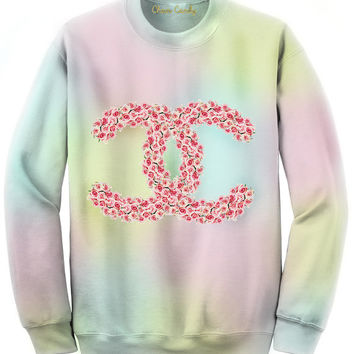 Chain Candy Double C's Pink Roses Pastel colored Sweatshirt