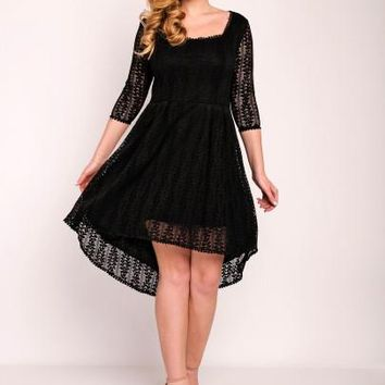 Black Plus Size Square Neck Women's Lace Dress