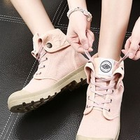Pink Round Toe Flat Lace-up Casual Padded Shoes