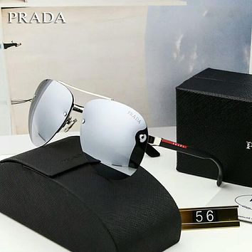 Prada Popular Ladies Men Summer Sunglasses Sun Shades Eyeglasses Glasses Silvery Grey I-A-SDYJ