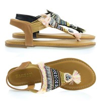 Aveno37s Natural By Bamboo, Elastic Flat Sandal In Tribal Bead, Multi Colored Woven Pattern & Metal