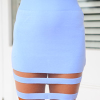 BLURRED LINES SKIRT (BL) - knitted skirt featuring transparent mesh panelling
