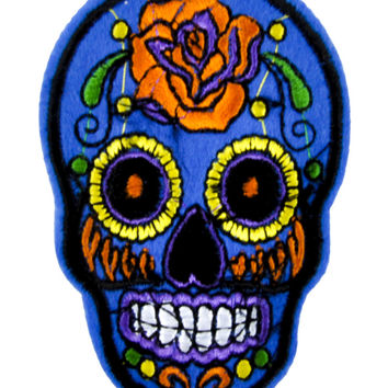 Blue Sugar Skull Patch Iron on Applique Day of the Dead