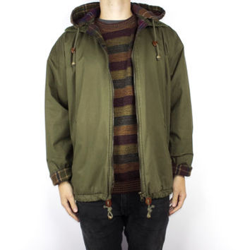 Vintage Wool Blend Army Green Parka Jacket / Flannel Lined Hooded Military Olive Green Coat / Mens Large