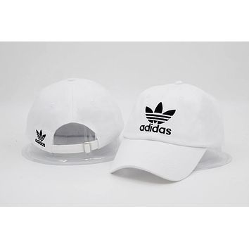 White Adidas Cotton Baseball Outdoor Baseball Golf Sports Cap Hats
