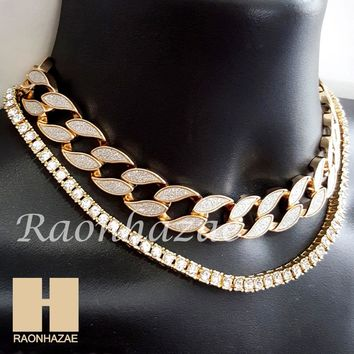 "Hip Hop Iced Out 16"" Iced Out Choker 4.5mm Solitaire Lab 18"" Tennis Chain 6"