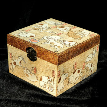 Cute Kuniyoshi Cats pyrography wooden jewelry keepsake box treasury chest
