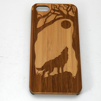 Wolf iPhone 6S or iPhone 6 Case. Eco-Friendly Bamboo Wood Phone Cover. Howling Spirit Animal Dog Werewolf. iMakeTheCase. Free US Shipping