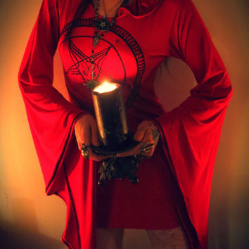 Red & Black Pentagram Hooded Drape Tunic Mini Dress