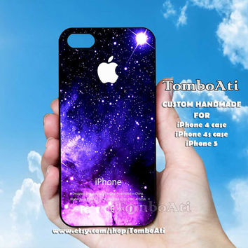 Blue Purple Nebula - Print on Hard Cover For iPhone 4/4S and iPhone 5 Case