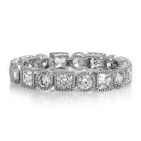 Sterling Silver Round and Princess Cubic Zirconia Eternity Band Ring #r262