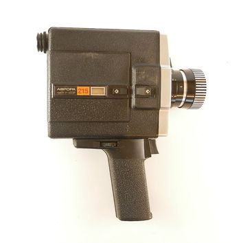 Vintage USSR camera, Soviet 8mm film camera Aurora 215 M Super, Lomo 215 Soviet Electric Movie camera super 8