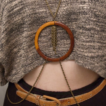 body chain with wooden bangle and chain tassel // repurposed bangle and antique bronze toned pretzel chain // nickel free