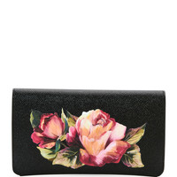 Dolce & Gabbana Floral Saffiano Continental Wallet, Black