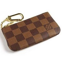 Trulym: Louis Vuitton Fashion Coffee Plaid Monogram Canvas Key Pouch M62650