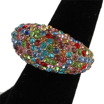 """.60"""" gold multi crystal pave dome stretch cocktail ring bridal prom"""
