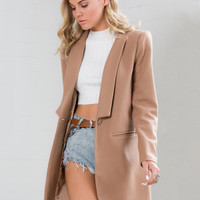 Long Sleeve Buckle Double Sided Woolen Coat