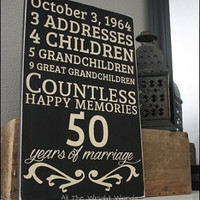 "12x18"" Years Of Marriage Wood Sign"