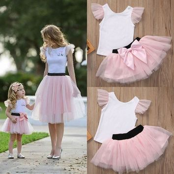 T-shirt + Tutu Skirt Mommy And Me Dresses