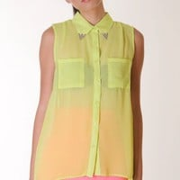 NEON-GREEN NEON COLLAR TIPS BLOUSE @ KiwiLook fashion
