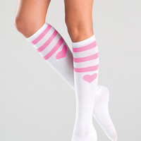 Pink Heart Knee High Socks