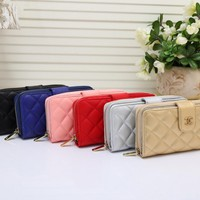 """Chanel"" Women Simple Solid Color Long Section Zip Multifunction Purse Button Multi-card Bit Wallet Handbag"