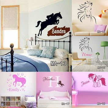 Custom DIY Personalized Name Jumping Horse Wall Sticker Riding Animal Vinyl Wall Art Nursery Decals Home Decor for Kids Room